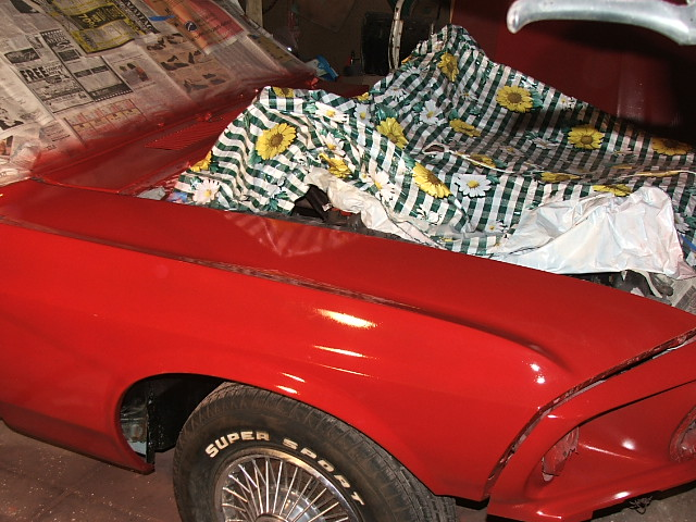 Classic Mustang Convertible Restoration fender painted